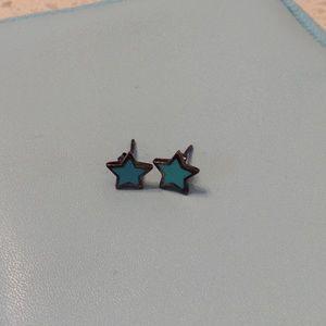 blue star stud earrings